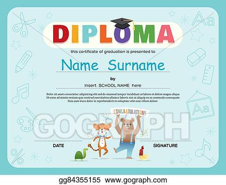 Vector Art - Preschool kids diploma certificate background design