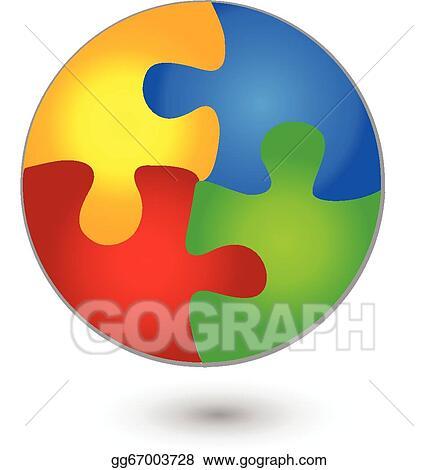 Clip Art Vector - Puzzle circle in vivid colors logo  Stock EPS