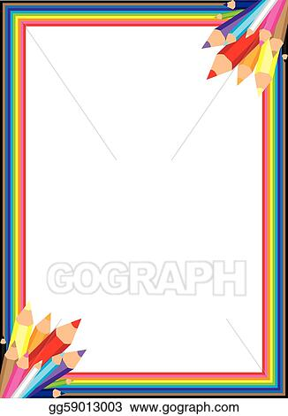 Vector Art - Rainbow pencil vector border EPS clipart gg59013003 - rainbow page border