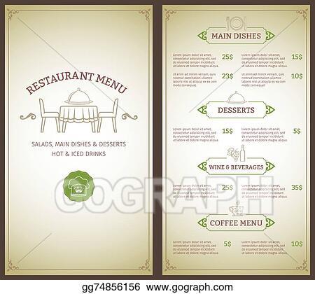 Clip Art Vector - Restaurant menu template Stock EPS gg74856156