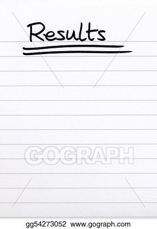Stock Image - Results, written on white lined blank paper Stock