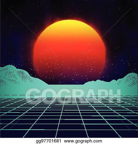 Vector Illustration - Retro background futuristic landscape 1980s