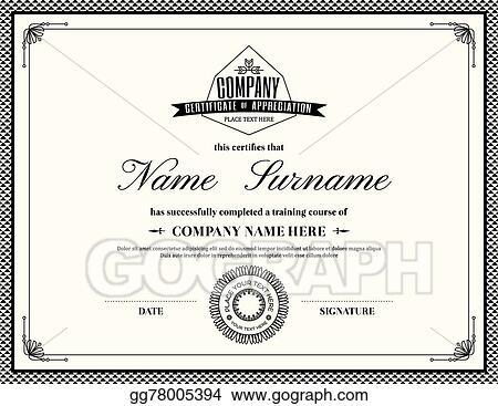 Vector Stock - Retro frame certificate of appreciation template