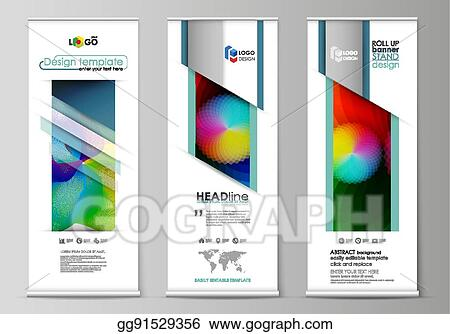 Vector Clipart - Roll up banner stands, flat style templates, modern