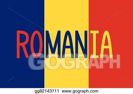 Vector Clipart - Romanian flag and word romania Vector Illustration - word flag