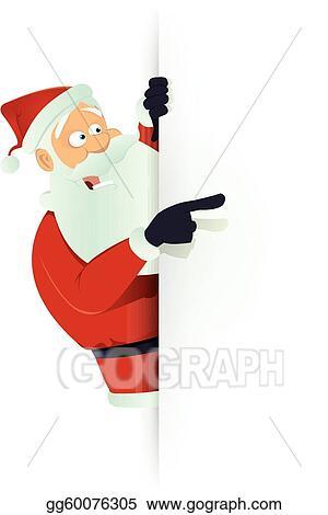 Vector Art - Santa pointing white blank sign EPS clipart gg60076305 - santa list blank
