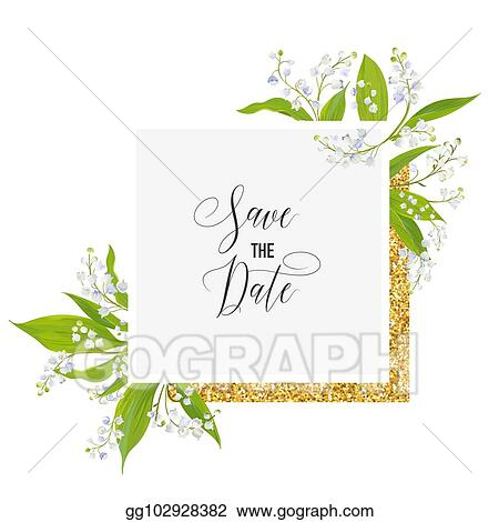 Vector Stock - Save the date card with blossom lily valley flowers