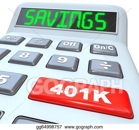 Stock Illustrations - Savings word calculator 401k button retirement