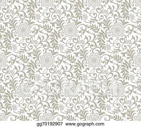 Vector Clipart - Seamless fancy floral background Vector