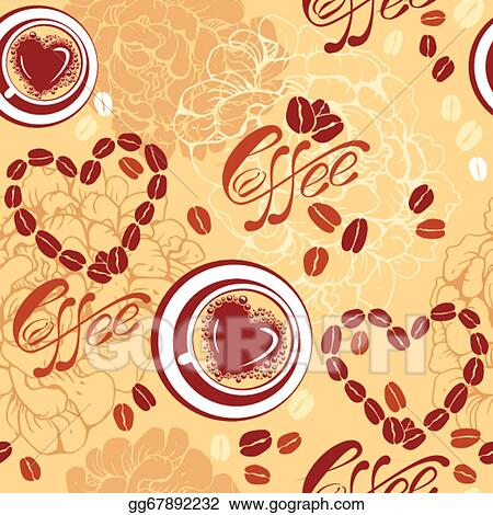 Vector Art - Seamless pattern with coffee cups, beans, heart shapes