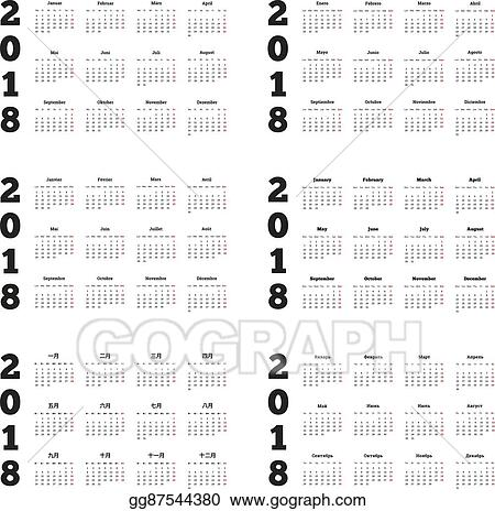 EPS Vector - Set of 2018 year simple calendars on different