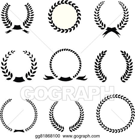 Vector Clipart - Set of black and white silhouette circular laurel
