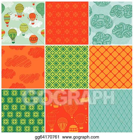Vector Illustration - Set of cute air balloons backgrounds - for
