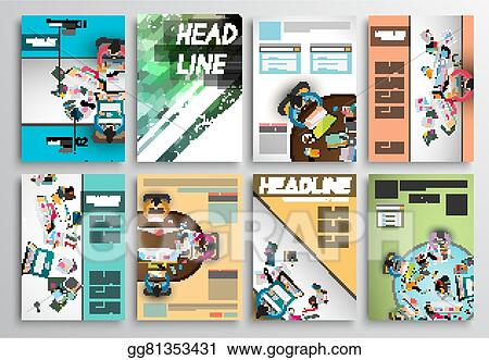 Vector Art - Set of flyer design, infographic layout brochure