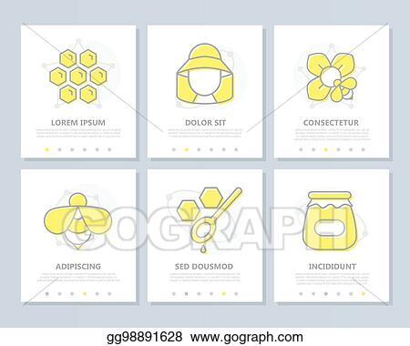 EPS Illustration - Set of honey colored elements for multipurpose a4