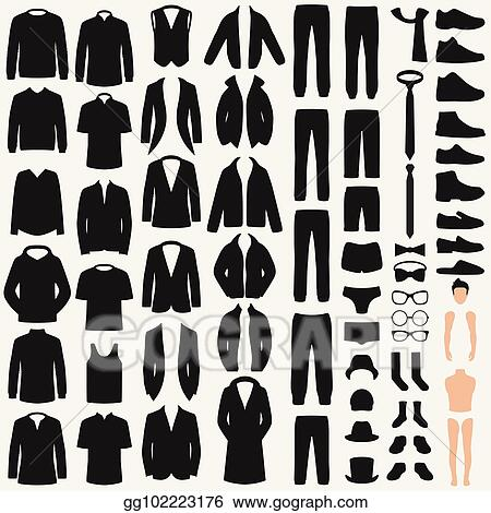 Vector Stock - Set of man fashion vector clothes silhouette pants