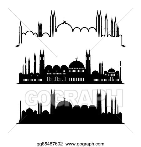 Drawings - Set of mosque sketches city design Stock Illustration
