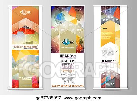 Clip Art Vector - Set of roll up banner stands, flat templates
