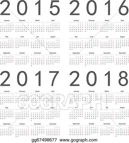 Vector Clipart - Set of square european 2015, 2016, 2017, 2018 year