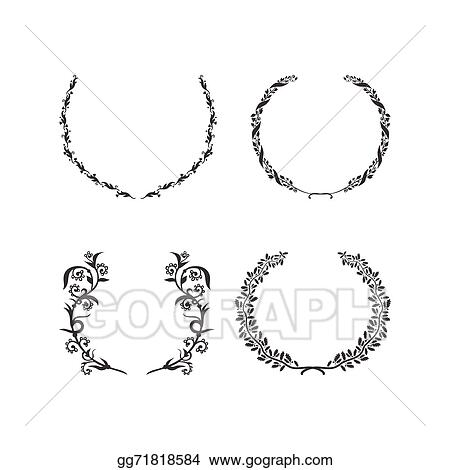 Vector Clipart - Set of vector black and white circular foliate