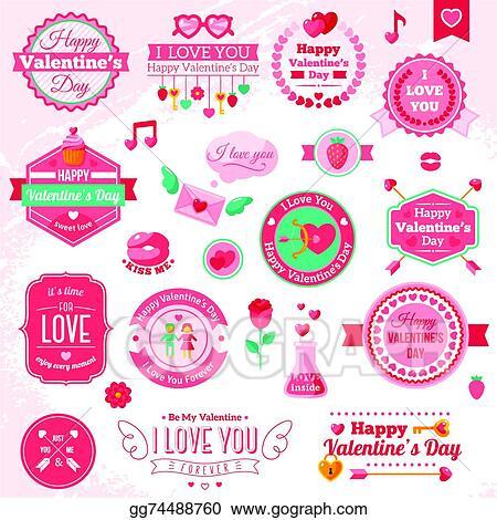 Clip Art Vector - Set of vintage happy valentine\u0027s day badges and