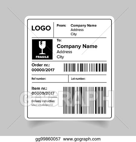 Vector Stock - Shipping label template Clipart Illustration