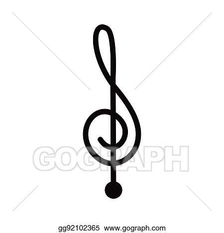 Vector Art - Silhouette monochrome with sign music treble clef
