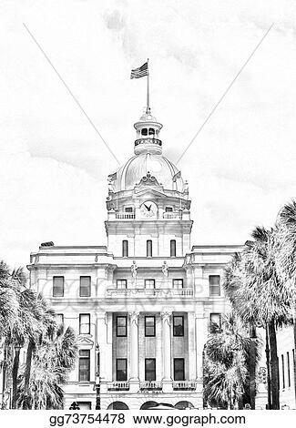 Stock Illustration - Sketch of historic savannah georgia city hall