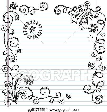 Vector Illustration - Sketchy doodle school page border Stock Clip