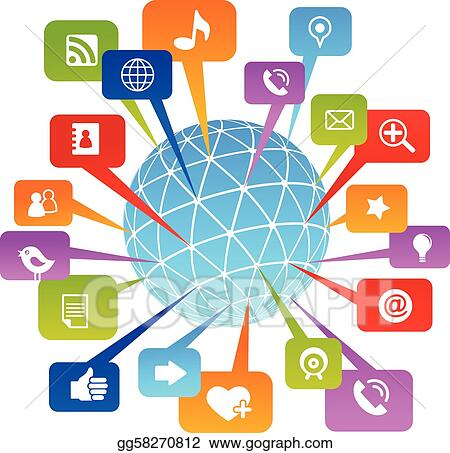 Cute Camera Wallpaper Vector Clipart Social Network World With Media Icons