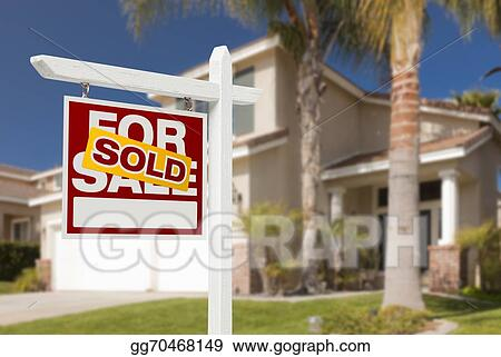 Stock Images - Sold home for sale sign in front of new house Stock