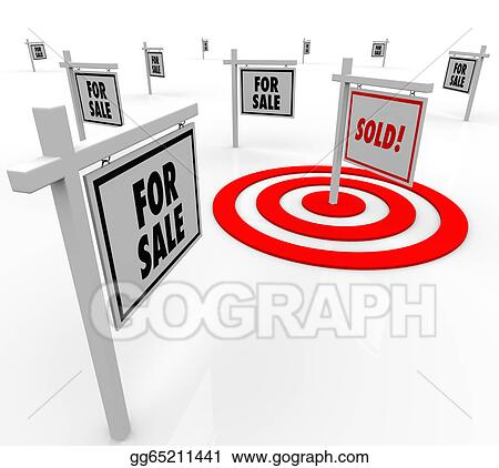 Stock Illustration - Sold real estate sign many for sale signs homes