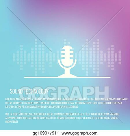 Vector Clipart - Sound recording services template with microphone