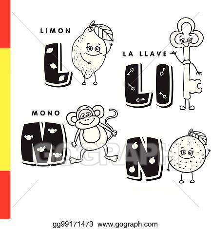 Vector Art - Spanish alphabet lemon, key, monkey, orange vector - alphabet in spanish