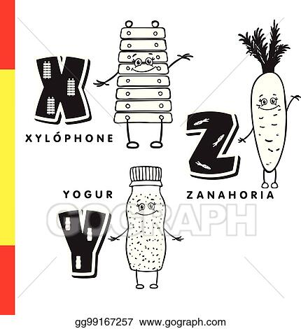 Vector Art - Spanish alphabet xylophone, carrots, yogurt vector - alphabet in spanish