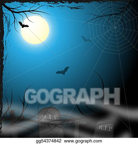 Drawing - Spooky background design Clipart Drawing gg54374842 - GoGraph