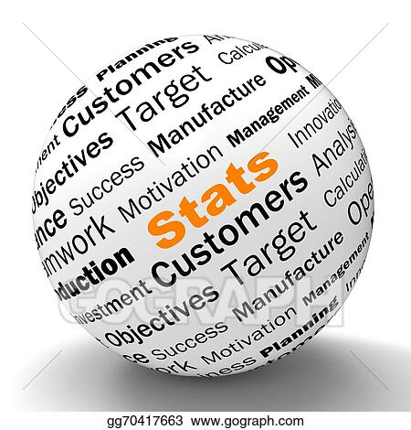 Stock Illustration - Stats sphere definition shows business reports