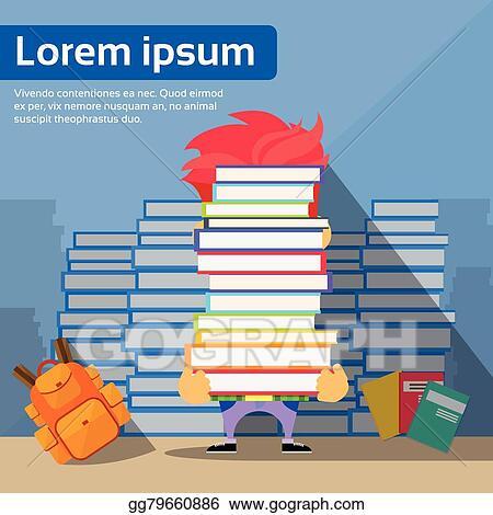 Vector Stock - Student hold pile books hide head, school boy