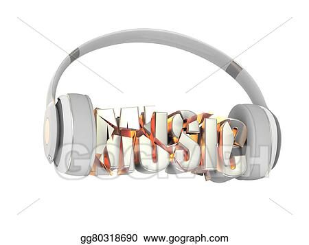 Stock Illustrations - Stylish white with gold headphones, and the