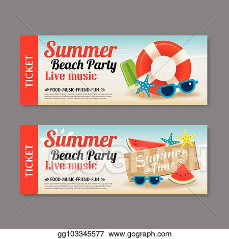 Clip Art Vector - Summer beach party invitation ticket template