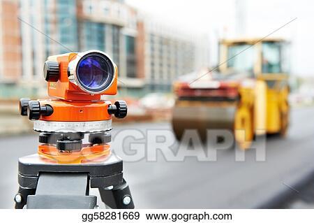 Stock Photo - Survey equipment at asphalting works Stock