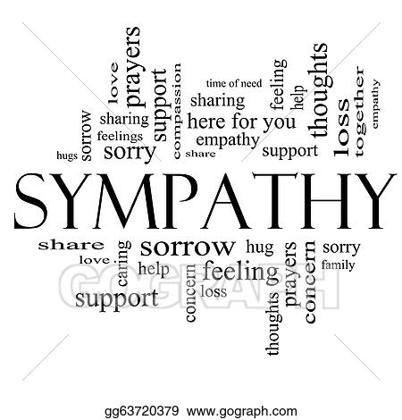 Drawings - Sympathy word cloud concept in black and white Stock