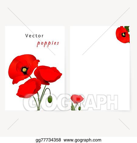 Vector Clipart - Template card with red flowers poppies Vector