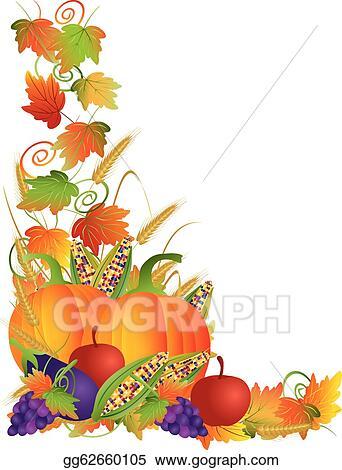 Clip Art Vector - Thanksgiving fall harvest and vines border