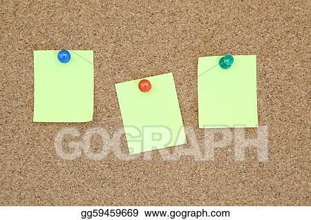 Stock Illustration - Three yellow memo sticker on notice cork board