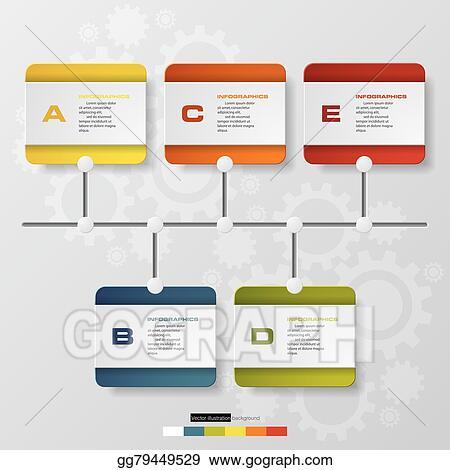 Vector Illustration - Time line description 5 steps Stock Clip Art