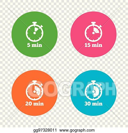 Vector Illustration - Timer icons five minutes stopwatch symbol
