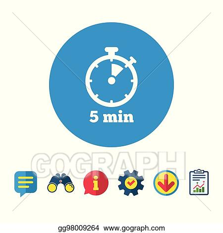 Clip Art Vector - Timer sign icon 5 minutes stopwatch symbol Stock