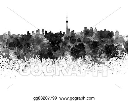 Drawings - Toronto skyline in black watercolor on white background