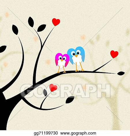 Clip Art - Tree owls indicates heart shapes and branch Stock